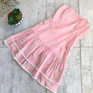 Lilly Pulitzer Strapless pink embroidered dress 2